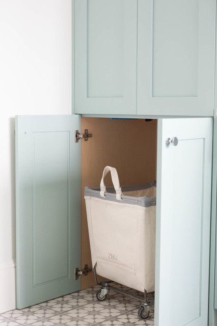rolling laundry basket Laundry Room Transitional with blue ca cement tile