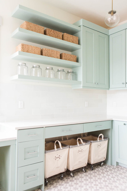 Rolling Laundry Basket Laundry Room Transitional with Blue Ca Cement Tile1