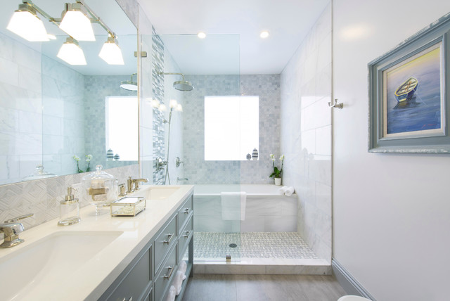 Ronbow Vanities Bathroom Traditional with Accent Tile Band Basketweave