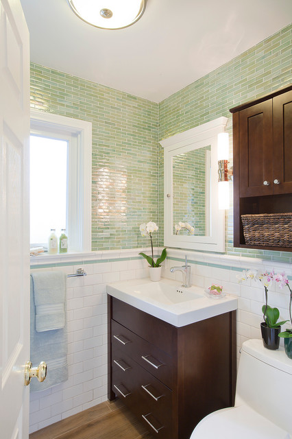 Ronbow Vanities Powder Room Contemporary with Dark Stained Wood Green