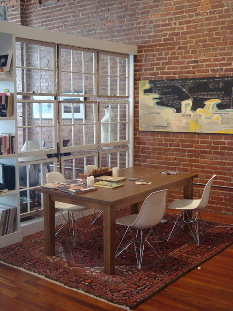 Room Divider Bookcase Dining Room Industrial with Blocky Brick Walls Castleberry