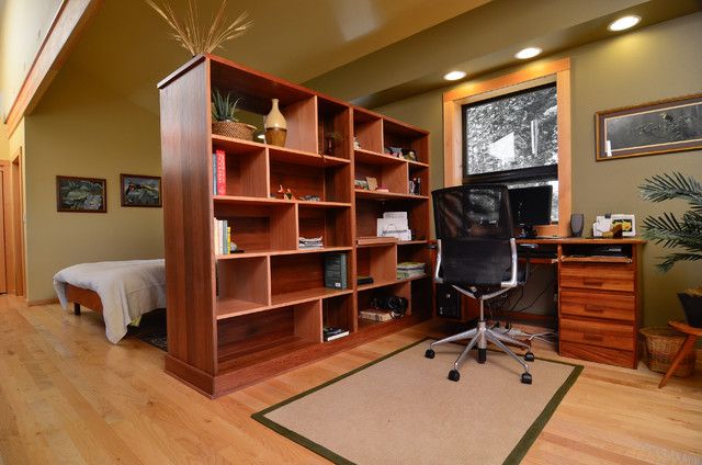 Room Divider Bookcase Home Office Contemporary with Area Rug Hardwood Flooring