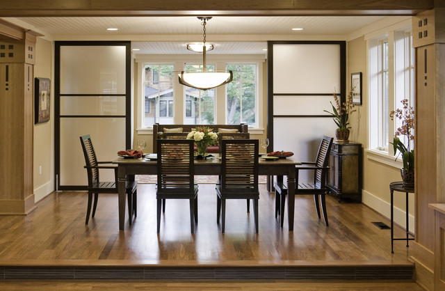 room divider screens Dining Room Contemporary with baseboards beadboard bowl chandelier
