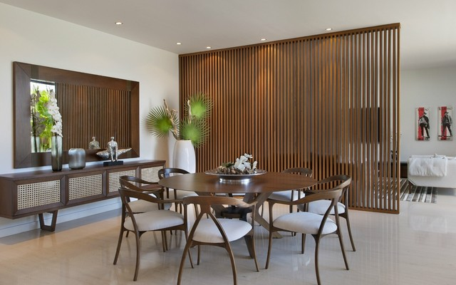 Room Divider Screens Dining Room Contemporary with Buffets and Sideboards Centerpiece