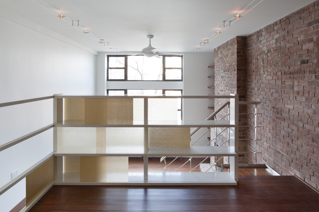 Room Divider Screens Staircase Modern with Brick Wall Built in Shelves