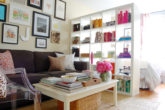 room dividers ikea Family Room Shabby-chic with book shelf colorful Expedit