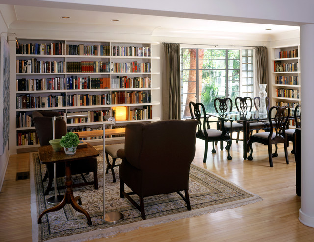 Room Separators Dining Room Traditional with Area Rug Bookcase Bookshelves