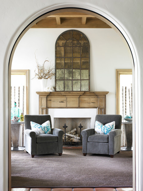 Rustic Fireplace Mantels Entry Beach with Antique Mirror Arch Doorway
