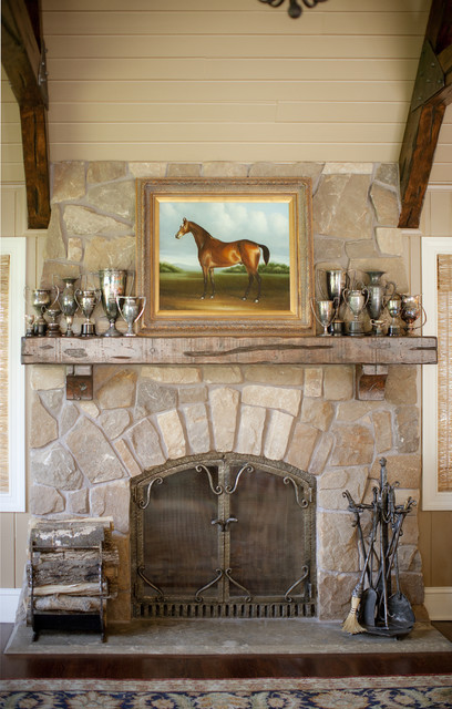 Rustic Fireplace Mantels Family Room Traditional with Antique Trophies Family Room
