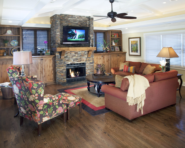 Rustic Fireplace Mantels Living Room Traditional with Area Rug Artwork Built