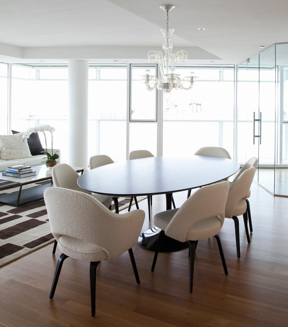 Saarinen Table Dining Room Contemporary with Carinilang Chair Chandelier Dark