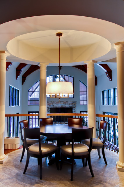Saloom Furniture Dining Room Traditional with Arched Window Cathedral Ceiling