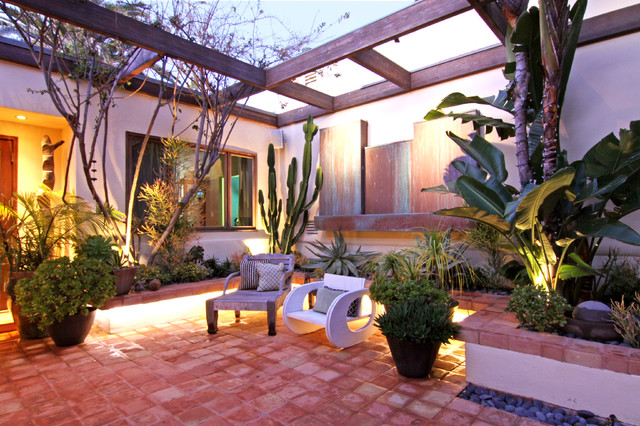 Saltillo Tile Patio Tropical with Covered Entry Landscaping Lounge