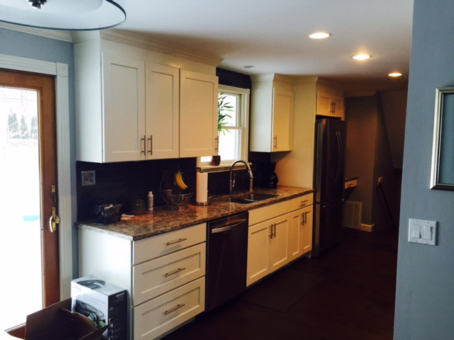 Sandusky Cabinets Kitchen Transitional with Cambria Cottage Galley Kitchen