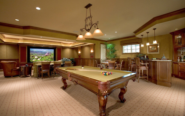 Sater Design Family Room Traditional with Basement Bar Beige Patterned