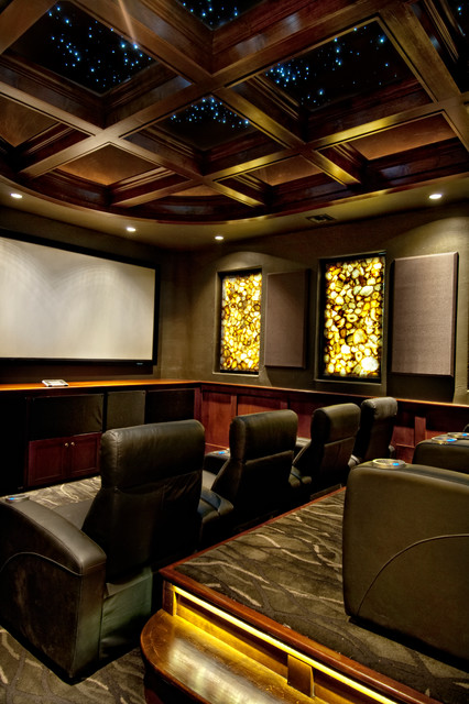 Sater Design Home Theater Mediterranean with Black Armchairs Coffered Ceiling