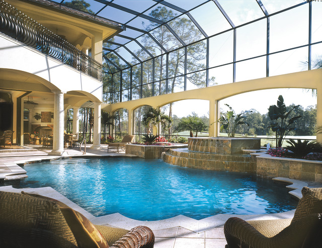 sater design Pool Mediterranean with balcony Circular Staircase courtyard