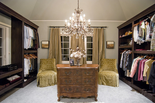 Savoy Lighting Closet Traditional with Beige Curtains Built in Closet