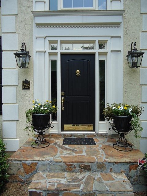 savoy lighting Entry Traditional with black brass kickplate front