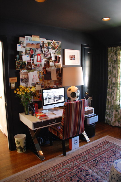 Sawhorse Desk Home Office Eclectic with Area Rug Bulletin Board