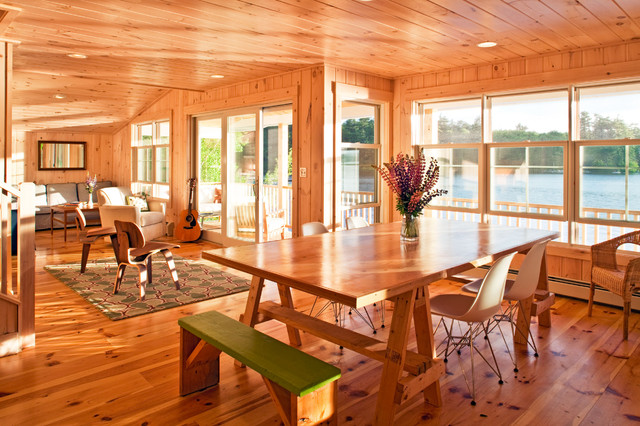 Sawhorse Table Dining Room Contemporary with Area Rug Cabin Dining