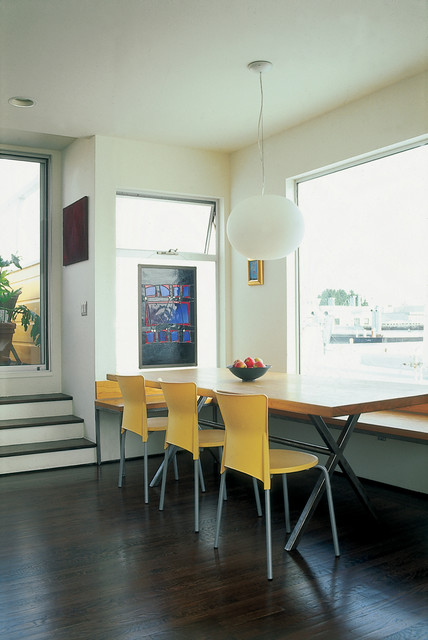 Sawhorse Table Dining Room Contemporary with Banquette Built in Bench
