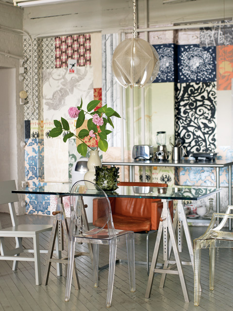 Sawhorse Table Dining Room Shabby Chic with Accent Wall Geometric Pendant