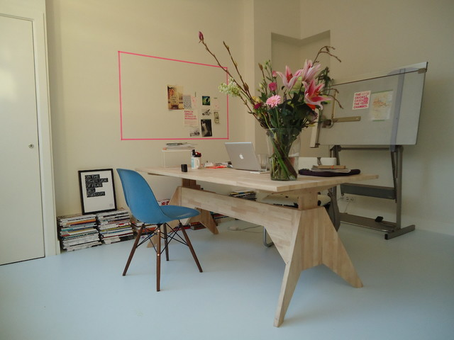 Sawhorse Table Home Office Contemporary with Desk Drafting Eames Floral