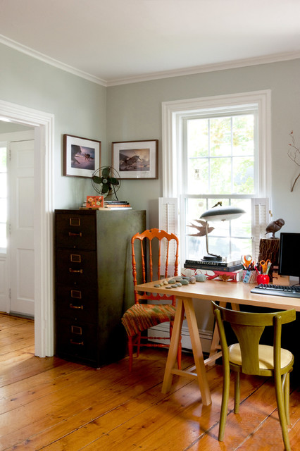 Sawhorse Table Home Office Eclectic with Bird Blanket Desk Eclectic