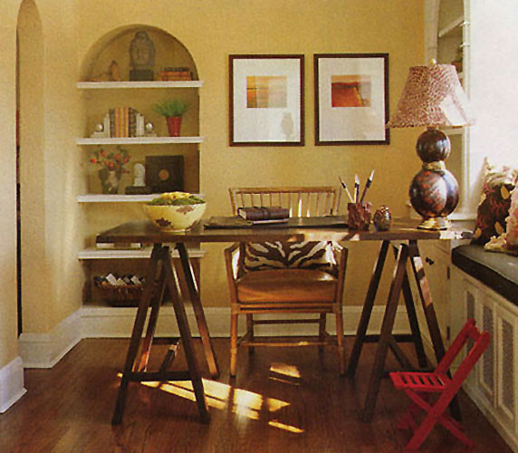 Sawhorse Table Home Office Traditional with Accessories Animal Print Art