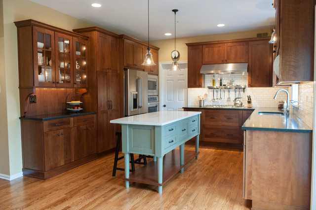 Schaub Hardware Kitchen Craftsman with Cabinets Cambria Contrasting Cabinets