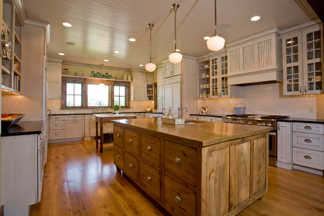 Schoolhouse Lighting Kitchen Farmhouse with Beadboard Ceiling Cabinet Front