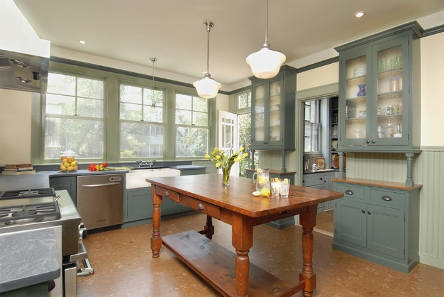 Schoolhouse Lighting Kitchen Traditional with Alternate Flooring Beadboard Blue