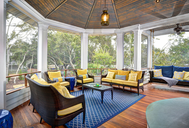 Screened Gazebo Porch Beach with Blue Area Rug Hanging