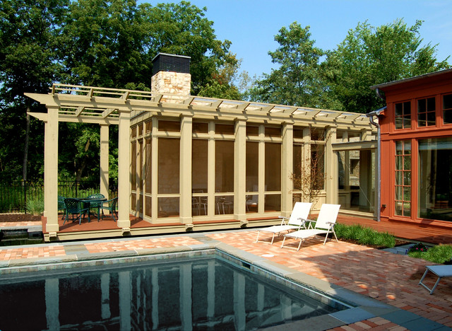 Screened Gazebo Porch Contemporary with Brick Paving Chaise Long