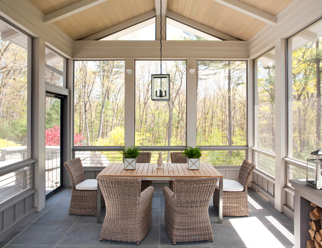Screened Gazebo Porch Farmhouse with Lantern Logs Paneled Ceiling