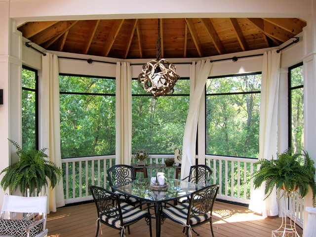 Screened Gazebo Porch Traditional with Black Black Curtain Rod