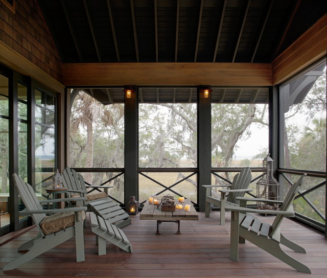 Screened in Porch Ideas Porch Eclectic with Adirondack Chairs Deck Indoor