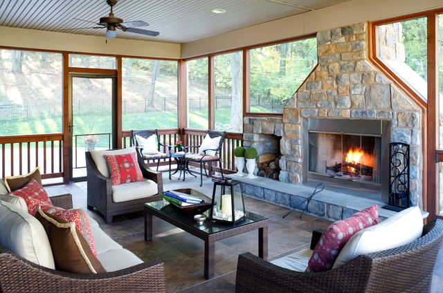 screened in porch ideas Porch Rustic with ceiling fan Fireplace four