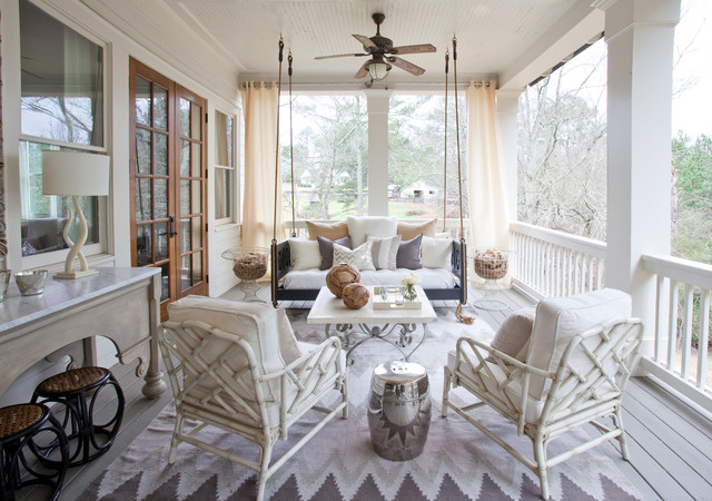 Screened in Porch Ideas Porch Traditional with Ceiling Fan Chrome Garden