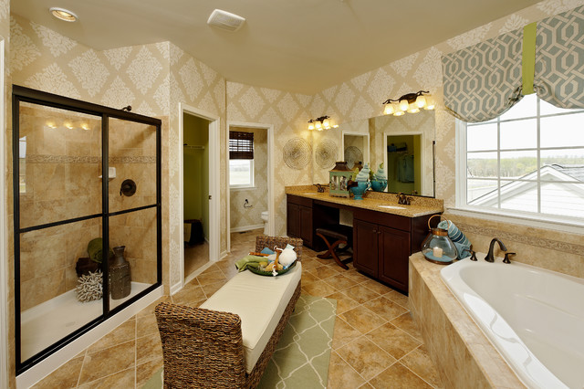 Seabrook Wallpaper Bathroom Contemporary with Area Rug Beige Corner