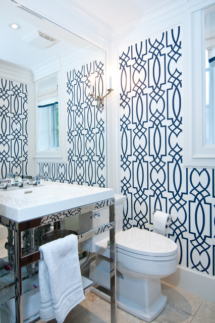 Seabrook Wallpaper Bathroom Transitional with Beige Floor Tile Blue