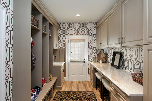 Seabrook Wallpaper Entry Traditional with Beige Countertop Brown And