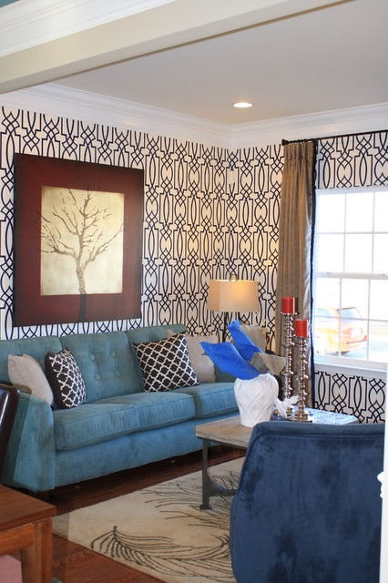 Seabrook Wallpaper Living Room Contemporary with Art Color Rug Sofa