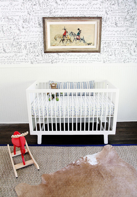 Seabrook Wallpaper Nursery Modern with Black and White Kids