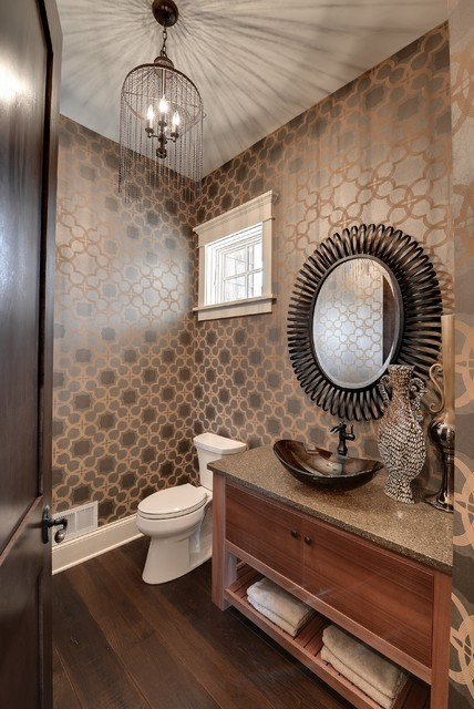 seabrook wallpaper Powder Room Traditional with earth tones hardwood floor