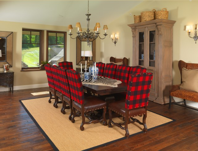 Seagrass Baskets Dining Room Traditional with Buffalo Plaid Carved Wood