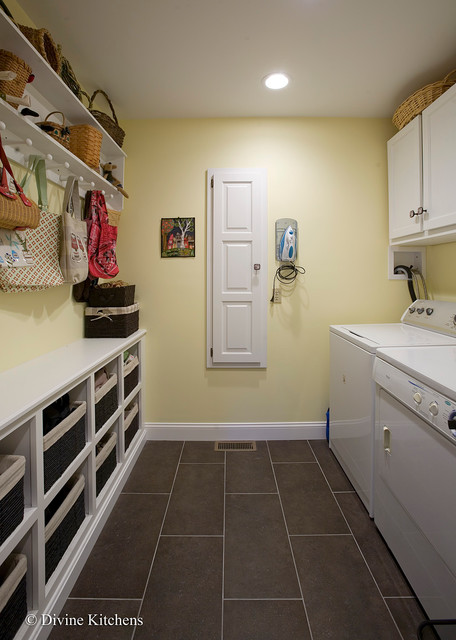 Seagrass Baskets Laundry Room Eclectic with Built in Baskets Ironing