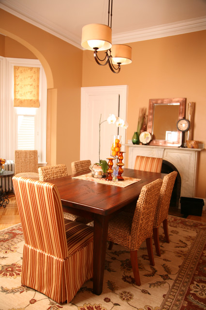 seagrass chairs Dining Room Traditional with area rug centerpiece chandelier