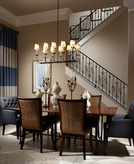 Seagrass Chairs Dining Room Traditional with Banister Blue and Brown